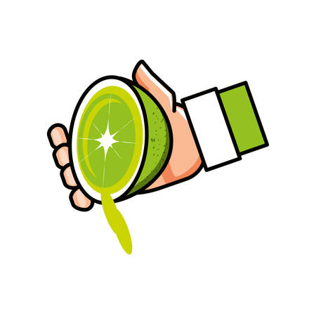 hand with fresh lemon fruit isolated icon vector illustration design