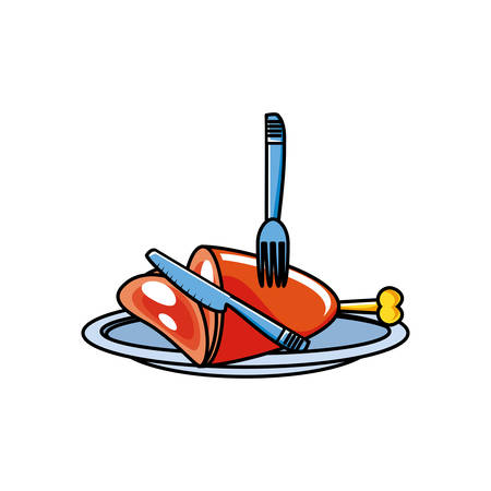 fresh pork leg isolated icon vector illustration design