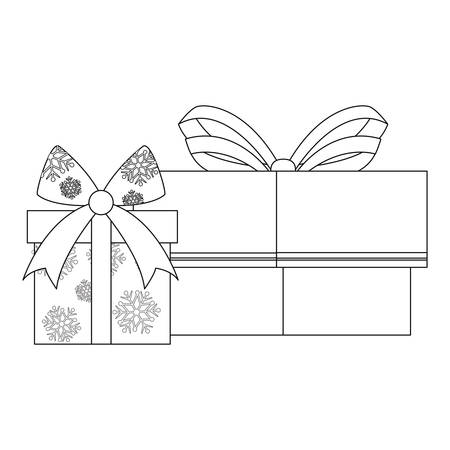 two gift boxes with bow on white background vector illustration