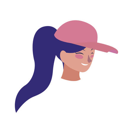 beautiful young woman with sport cap head character vector illustration design