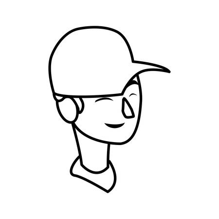 young man head with cap character vector illustration design