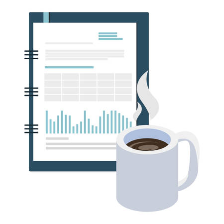 coffee cup with documents vector illustration design