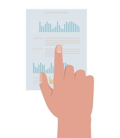 hand with financial paper document with statistics vector illustration design Stock Illustratie