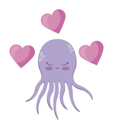 cute octopuses with hearts love vector illustration design Ilustração