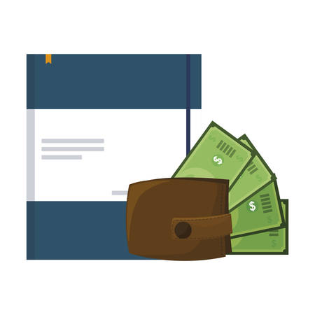 wallet with bills dollars and documents vector illustration design