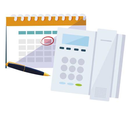 digital telephone office with calendar vector illustration design
