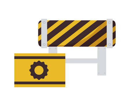 barricade and signaling with gear vector illustration design