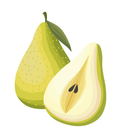 fresh pears fruits isolated icon vector illustration design