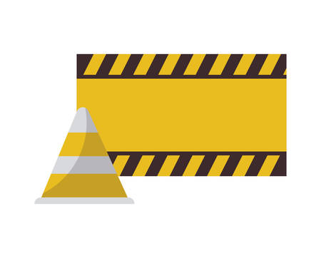 cone with signaling isolated icon vector illustration design