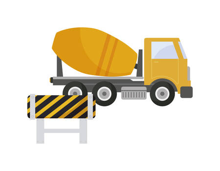 under construction concrete truck with signaling vector illustration design