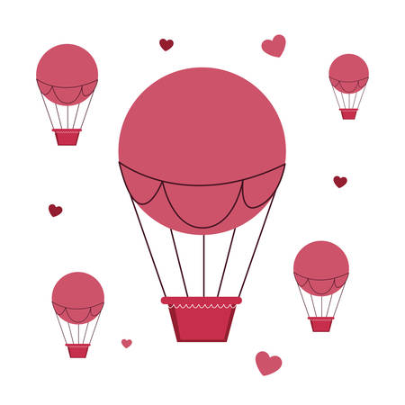 balloons air hot flying with hearts vector illustration design