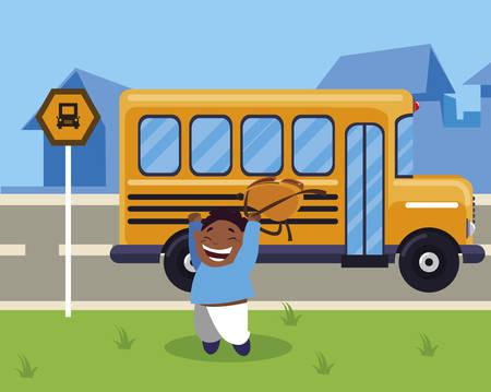 happy little black schoolboy with schoolbag in the bus stop vector illustration design