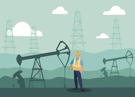 oil industry worker avatar character vector illustration design