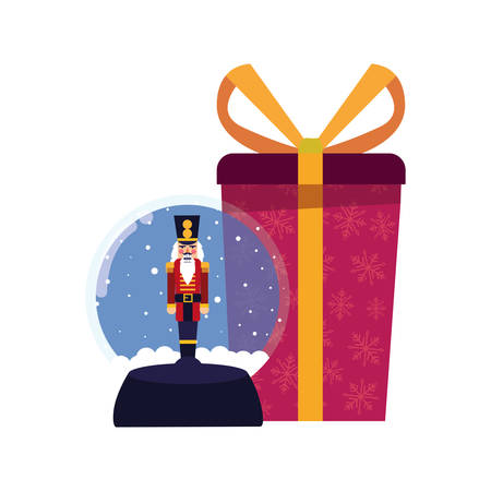 christmas nutcracker snow globe and gift vector illustration Stock Illustratie