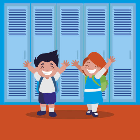 happy little school kids in the school corridor vector illustration design