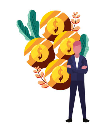businessman money coins currency bank vector illustration Stock Illustratie