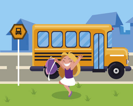 happy little schoolgirl with schoolbag in the bus stop vector illustration design