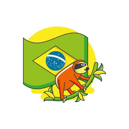flag of brazil with sloth animal vector illustration design