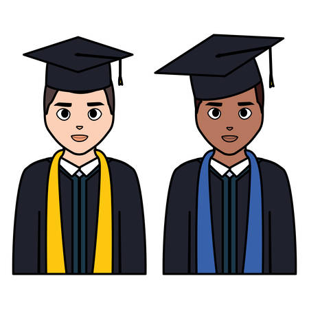 young students graduated diversity characters vector illustration design