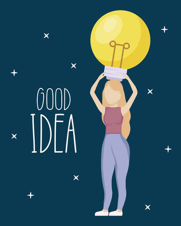 woman holding light bulb idea icon vector illustration design 向量圖像