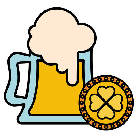 beer jar with coin clover vector illustration design Vettoriali
