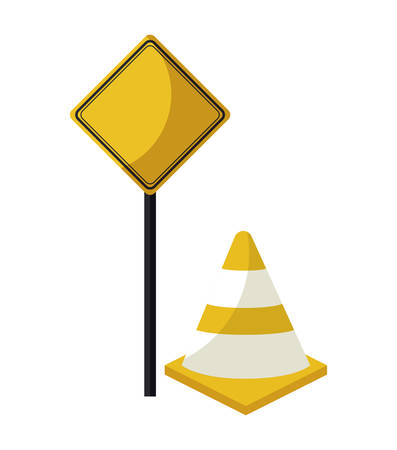 cone with signaling in stick vector illustration design