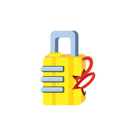 safe secure padlock with snake attack vector illustration design
