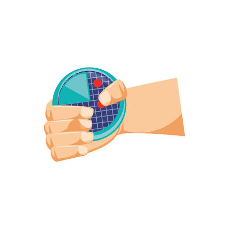 hand with radar isolated icon vector illustration design