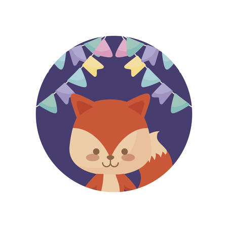 cute fox animal with garlands hanging vector illustration design Vectores