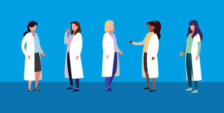group of women doctors avatar character vector illustration design