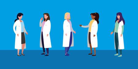 Groupe de femmes médecins caractère avatar vector illustration design