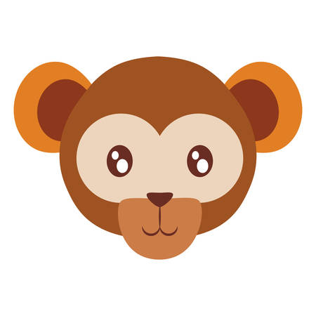 cute exotic monkey head character vector illustration design