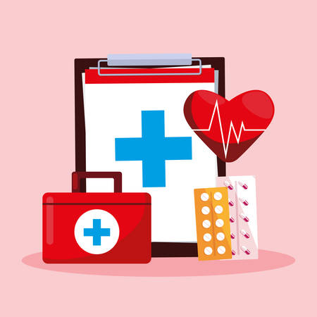 world health day card with clipboard and first aid kit vector illustration design