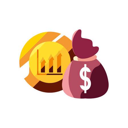 gold coin money bag dollar vector illustration