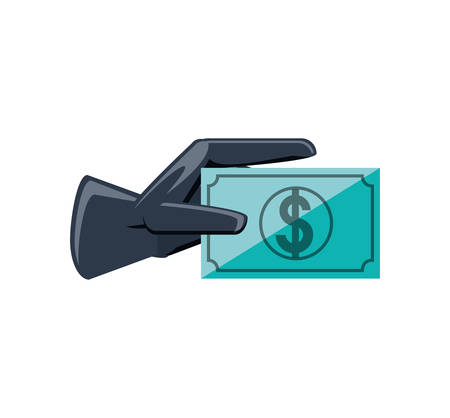 rubber glove with bill dollar vector illustration design