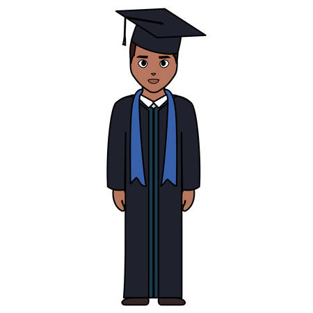 young student graduated black character vector illustration design