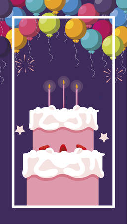 sweet cake birthday with balloons helium vector illustration design
