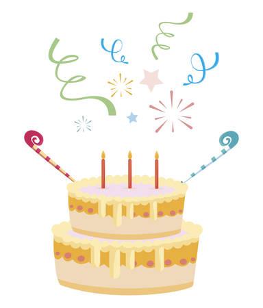 Pastel de cumpleaños dulce con velas, diseño de ilustraciones vectoriales