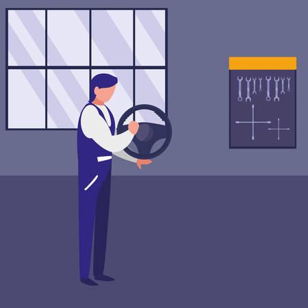 mechanic worker with drive wheel car vector illustration design