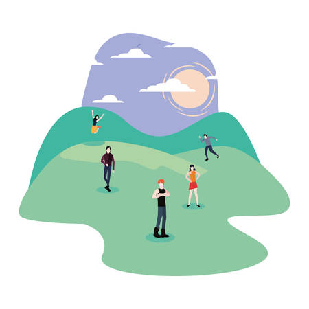 people enjoying in the park activities vector illustration Stock Illustratie