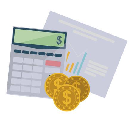 coins money with calculator math vector illustration design