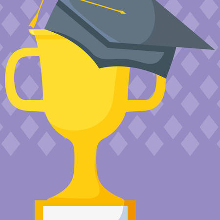 hat graduation with trophy cup vector illustration design