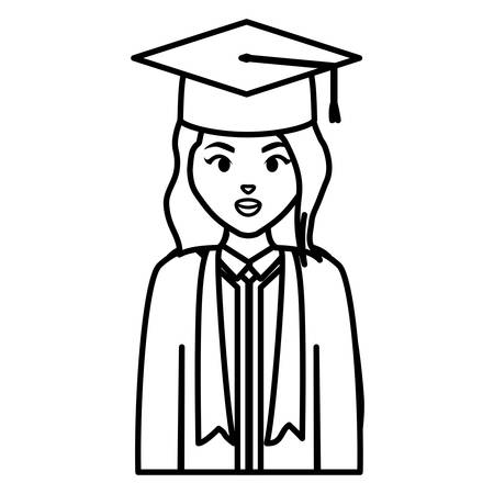 young student graduated girl character vector illustration design Illustration