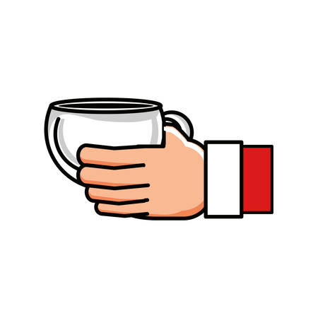 hand with coffee cup character vector illustration design