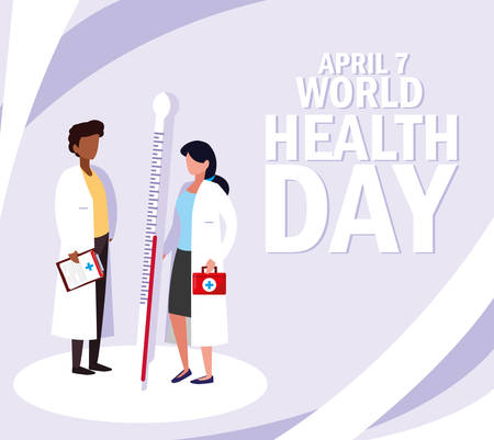 world health day with couple doctors and icons vector illustration design