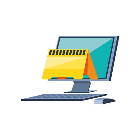 desktop computer with signaling vector illustration design