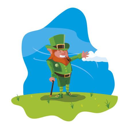 saint patrick lemprechaun with cane in the field vector illustration design Banque d'images - 124061819