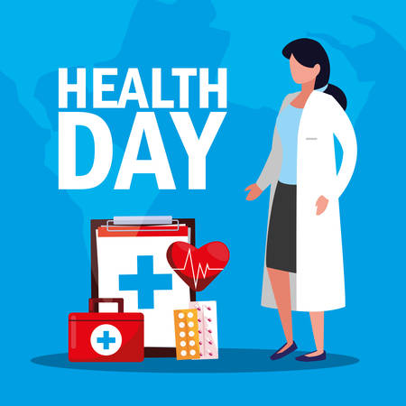 world health day card with doctor woman and icons vector illustration design Illustration