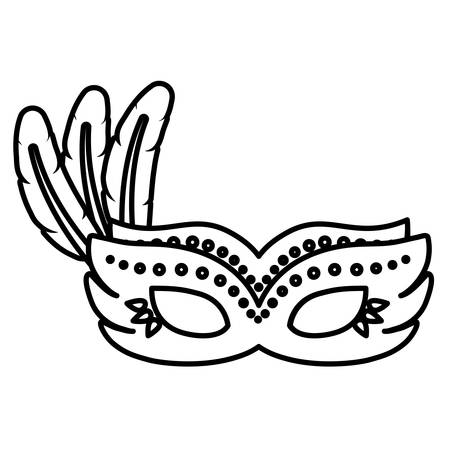 brazilian carnival mask with feathers vector illustration design