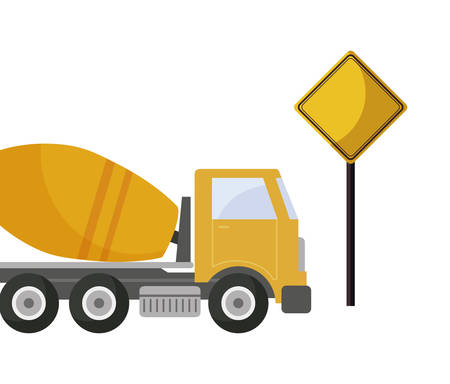 under construction concrete transport truck with signaling vector illustration design Illustration